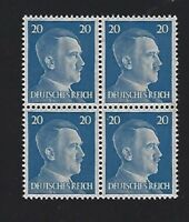 MNH  Adolph Hitler stamp block / 1941 PF20 / Original Third Reich Germany Block