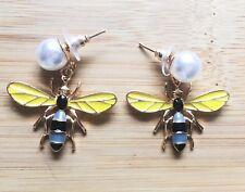 18k Rose Gold GP Pearl And Bees Dangling Earrings Animal Bug Large