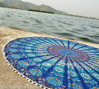 Blue Mandala Tapestry Indian Round Roundie Beach Throw Rug Boho Yoga Mat Decor