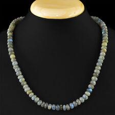 Edelsteinkette Schwarz Labradorit (Labradorite) 50cm Collier Halskette 6mm Perle