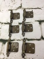 Vintage Hollywood Regency Cabinet Door Hinges Ornate Brushed Metal Brass