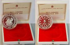 COMUNITA' ECONOMICA EUROPEA 5 ECU 1993 ITALIA ARGENTO SILVER PROOF CERTIFICATO