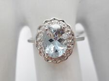 New 10k White Gold Oval Aquamarine & Diamond Accent Halo 1.15 TCW Ring ~ #2486