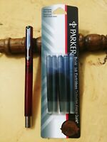 Parker Vector Fountain Pen Translucent Red (Made in USA) w/ 5 PermBlu/Blk inkcrt