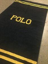 Vintage 90s Polo Ralph Lauren Spellout Beach Towel 50x27 Navy Blue Yellow Bear