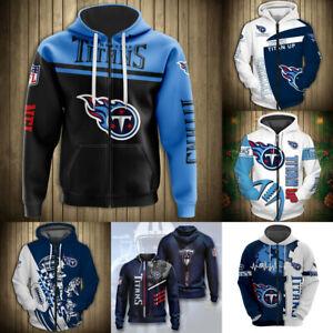 Tennessee Titans Hoodie Fans Full Zip Hooded Sweatshirt Men's Casual Jacket Coat