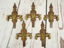 Set of 5 Judd Manufacturing Cast Iron Metal Bracket Finial Ornate Fleur de Lis