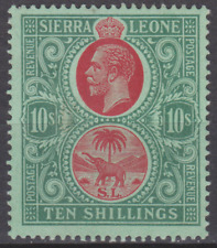 Sierra Leone 1912 Mint Mounted 10/- Red & Green SG127 Cat £120  BARELY HINGED
