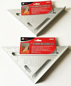2 ATE PROFESSIONAL HEAVY DUTY ALUMINUM MEASURING RAFTER SQUARES PROTRACTOR 90059