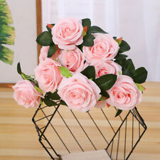 13 Heads Artificial Rose Bouquet Silk Fake Flowers Leaf Wedding Party Home Decor