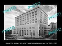OLD LARGE HISTORIC PHOTO OF KANSAS CITY MISSOURI, THE USA COURT HOUSE & PO c1940