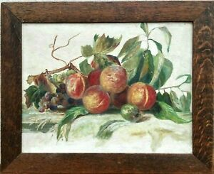 Still Life of Fruit Oil Painting signed & dated 1915 Otago, New Zealand