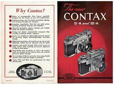 1950s Contax II-A & III-A Camera  Brochure