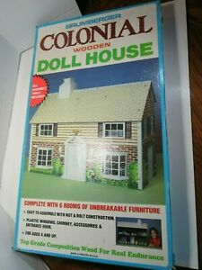 SEALED Vintage Brumberger Colonial Wooden Doll House& furniture 772 complete HTF