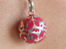 "Balinese Harmony Ball pendant genuine 925 silver 18mm ""Pink Filigree"" with cord"