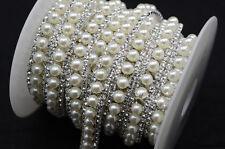 1 yard costume pearls rhinestone applique trims silver