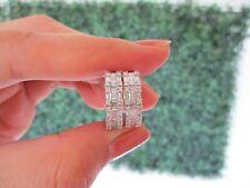 .77 CTW Diamond Loop Earrings 14k White Gold E279 sep