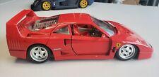 Ferrari 1/18 Scale Die Cast Model BURAGO 1987 Ferrari F40 Red