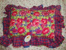 April Cornell New Blue Pink Rose Pillow Cushion RARE Vintage Romantic Princess A
