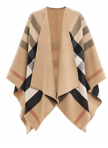 🥇BURBERRY CAPE PONCHO REVERSIBLE BEIGE CARREAUX NEW WITH TAGS SOLD OUT!!!! 🥇