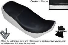 BLACK & WHITE CUSTOM FITS YAMAHA XJ 750 SECA 81-83 LEATHER DUAL SHORT SEAT COVER