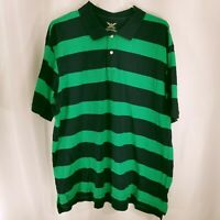 Faded Glory Mens Regular Fit Short Sleeve Striped Polo Shirt Blue Green Size XXL