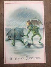 More details for rare, eccentric victorian xmas card:anthropomorphic humour, frogs, umbrellas,hat