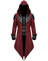 Devil Fashion Mens Gothic Hooded Jacket Coat Red Black Dieselpunk Assassin Creed
