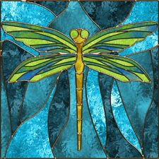"IMAGE OF DRAGONFLY STAINED GLASS COASTERS SET OF 4 RUBBER BACKED NEW 1/4"" THICK"