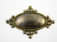 Vintage Taxco Mexico Sterling Silver Pin Pendant 925 Brooch Oval Shape Bead Edge