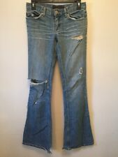 Juicy Couture Destroyed Jeans Womens Size 26 (26 X 32) Flare Medium Wash