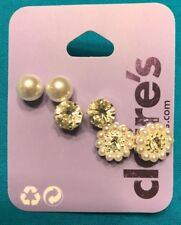 Three Pairs Claire's Faux Pearl Silver Rhinestone Stud Round Pearl Stud Earrings