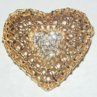 Vintage gold tone lattice open work clear white rhinestone heart pin brooch