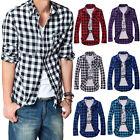 Mens Plaid Check Long Sleeve Casual Shirt Slim Fit T-Shirts Tees Dress Tops