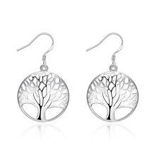 Women 925 Sterling Silver Plated Tree of Life Drop Dangle Earrings Jewelry Gift
