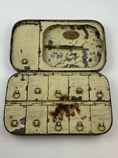 Vintage Enamel A. Carter Fly Fishing Tin With Collection Of Flies