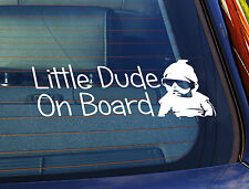 Static Cling Window Car Sign/Decal Sticker Little Dude On Board Baby Sunglasses
