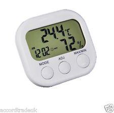 Digital LCD Temperatura Interior Termometro Higrometro Reloj Calibre Medidor De Humedad