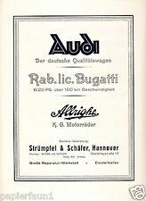 Audi Bugatti Allright Orig. Reklame 1924 Autohaus Strümpfel & Schäfer Hannover +