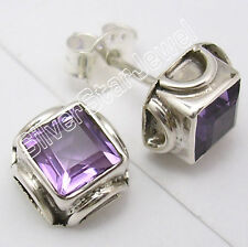 925 Solid Silver Hot Selling AMETHYST EXCLUSIVE LOVELY Stud Earrings .7 CM NEW