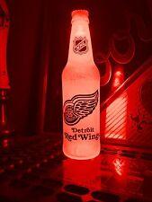 NHL Detroit Redwings Hockey 12 oz Beer Bottle Light LED Bar Man Cave
