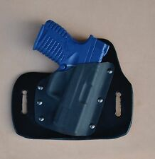 Leather/kydex hybrid OWB beltslide holster for Springfield XDs 3.3""