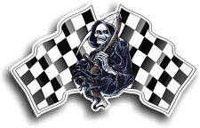 Death The GRIM REAPER & Racing B&W Chequered Flag vinyl car Helmet sticker decal