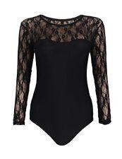 Lau-Fashion Damen Unterwäsche Body Schwarz mit Spitze Rundhals Langarm S/M