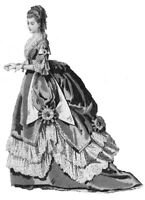 """1865 Ball Gown pattern antique French Fashion doll SZ 12-16 17-18  21-22"""" #164"""
