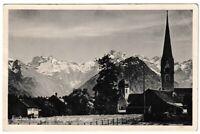 Ansichtskarte Fischen im Allgäu mit Allgäuer Alpen und Kirche - schwarz/weiß