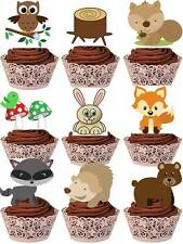 WOODLAND CREATURES childrens Cup Cake Toppers Edible STAND UP Decorations
