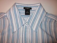 ANN TAYLOR Women's Dress Blouse Shirt Button Down - EUC White Stripe (Size 4)