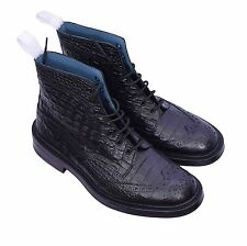 Trickers Men's Stow Croc Print Brogues Boots Black Size 8
