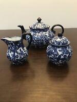 Vintage Blue Tea Set Coffee Set, Teapot, Milk Jug, Sugar Trinket